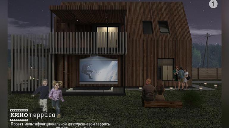"""Проект мультифункциональной двухуровневой террасы с использованием доски ДПК Terradeck Eco """"КИНОтерраса"""""""