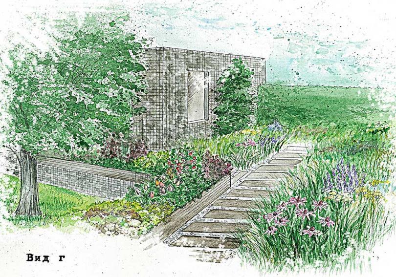 Проект малого сада с террасой при частном коттедже